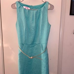Turquoise belted mid dress